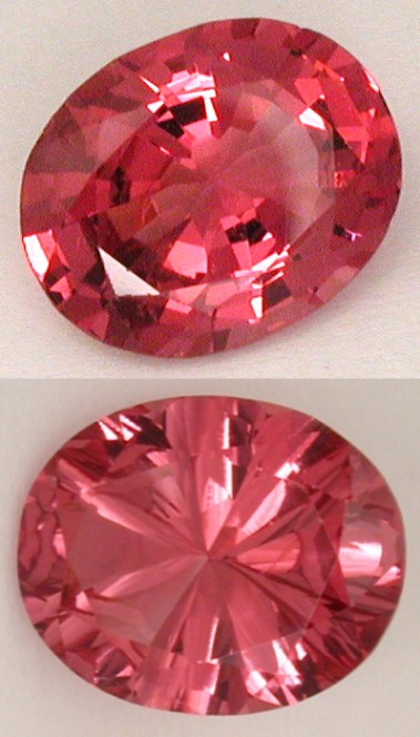 concave faceted spinel gemstone