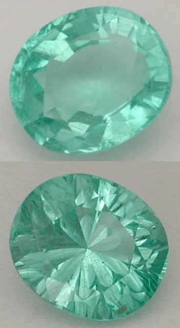 concave faceted tourmaline gem